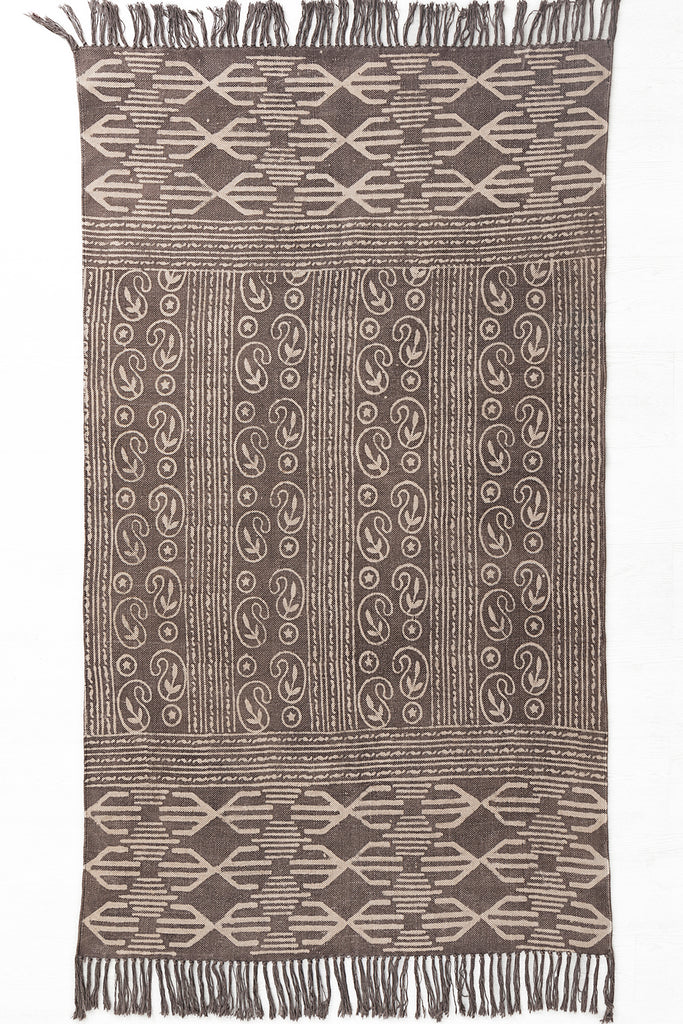 Traditional Block Printed Carpet Brown Cotton Dhurrie Rug Handmade 4 X 6 Rug Boho Picnic Rug Hand Woven Beach Rug Handcrafted Rug Floor Mat