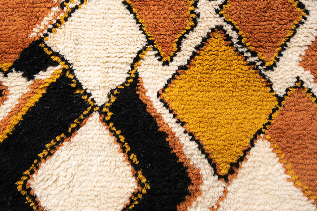 Boho Decorative White Shaggy Wool Rugs For Home Decor With Yellow And Black Geometric Pattern 60 x 96