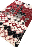 Boho Decorative Red And White Shaggy Wool Rugs For Home Decor With Geometric Pattern 60 x 96