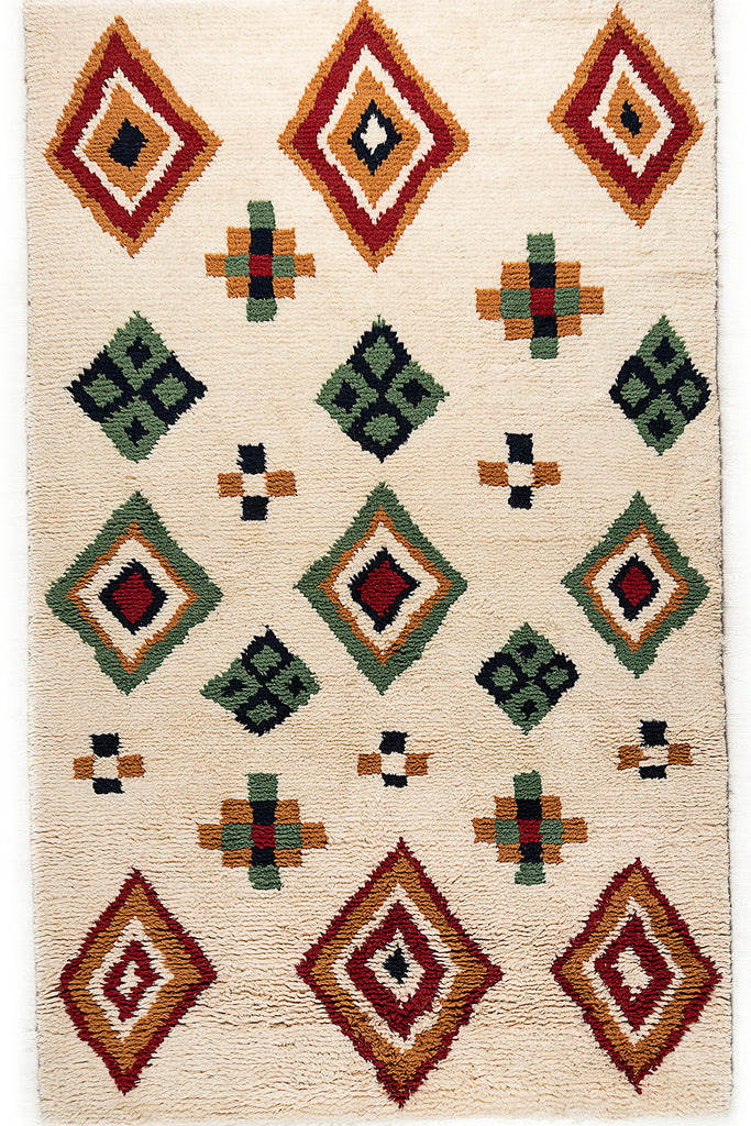 Bohemian Decor White Moroccan Wool Rugs For Home Decor with Geometric Pattern 66 x 108
