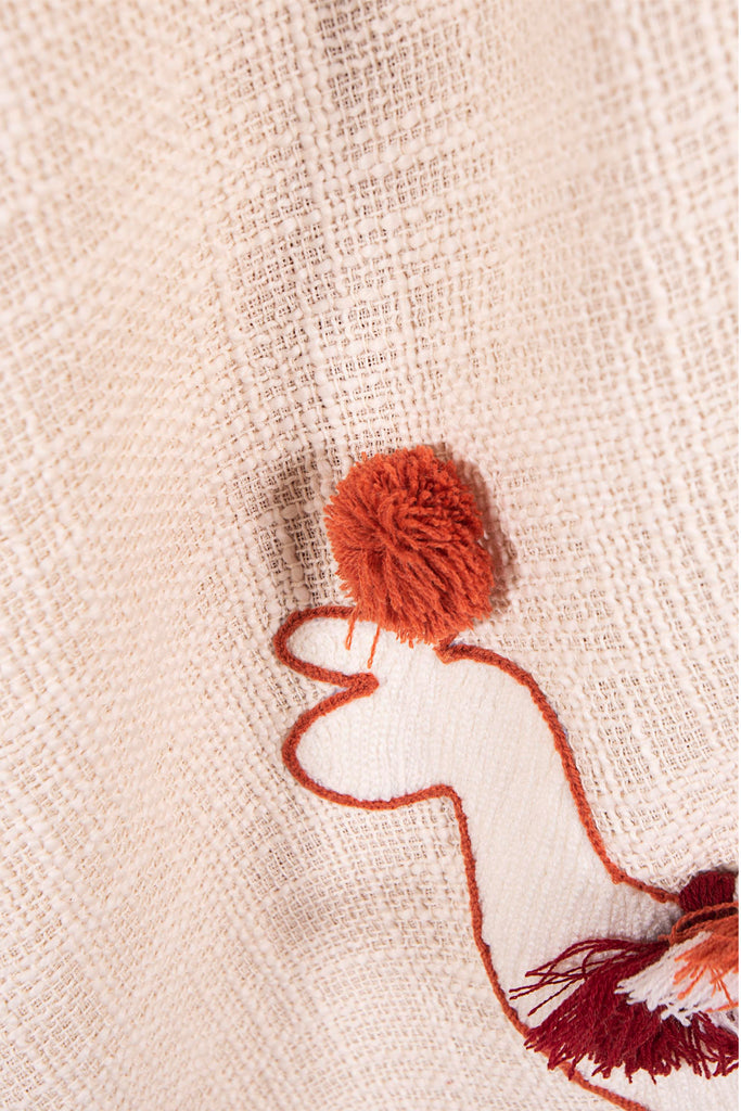 Bohemian Decorative Tassel Throws with Brown and White llama Embroidery 45 x 68