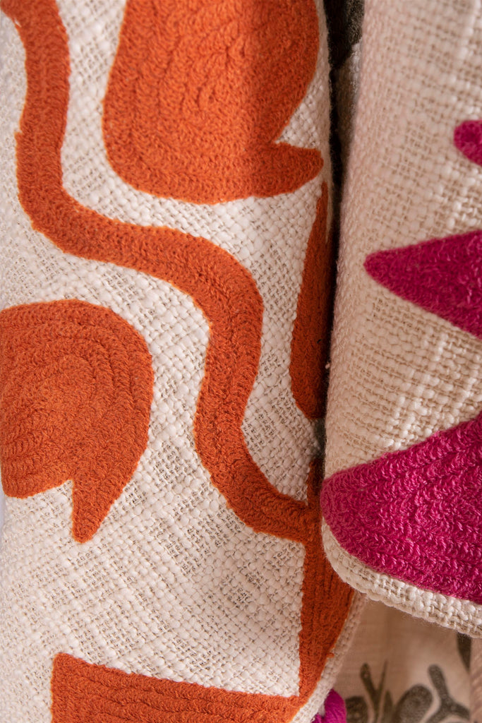 Bohemian Decorative Multicolor embroidered throws with pink tassels 50 x 67