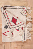 Bohemian Decorative Tassel Throws with Repeated rectangle Embroidery 52 x 72