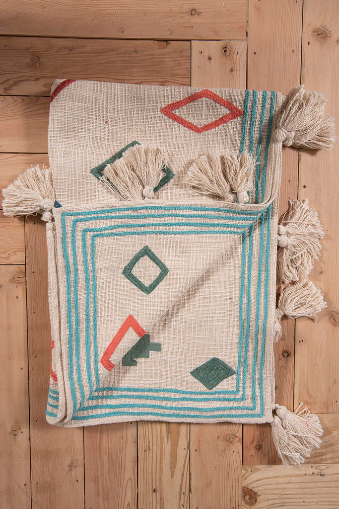Bohemian Decorative Tassel with Repeated rectangle Embroidery Throws 52 x 72