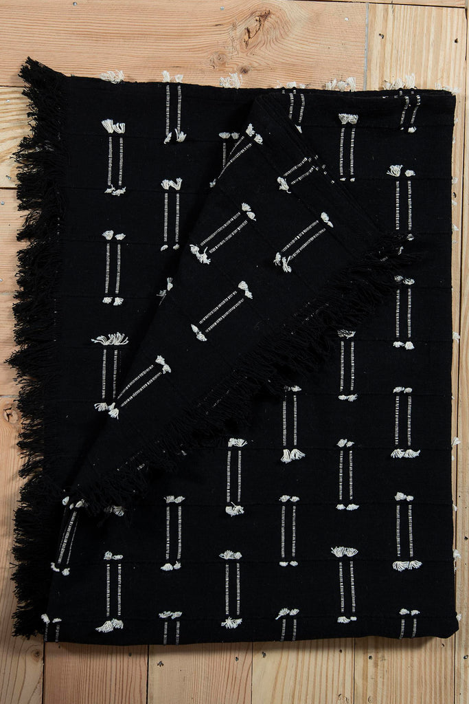 Soft Woven Black Cotton throw with stripe pattern 48 x 72