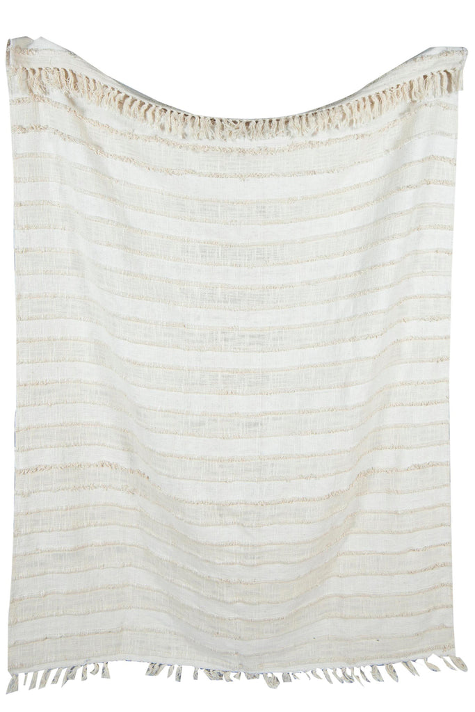 Woven Soft Beige and White Cotton throw with stripe pattern 52 x 72