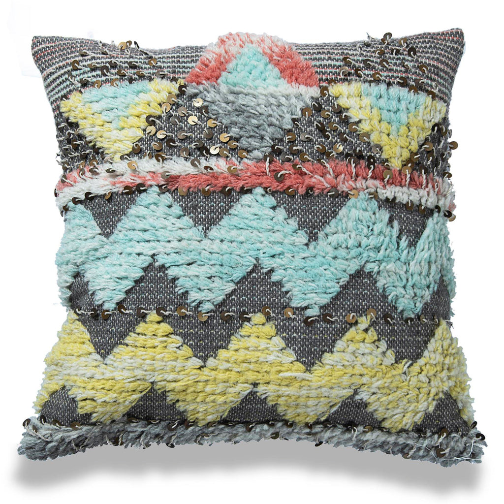 Bohemian Pillow sequin Wool Cushion Cover Moroccan Pillow Shaggy Hand Woven Pillow Floor pillow boho home decor 24 X 24 pillow housewarming