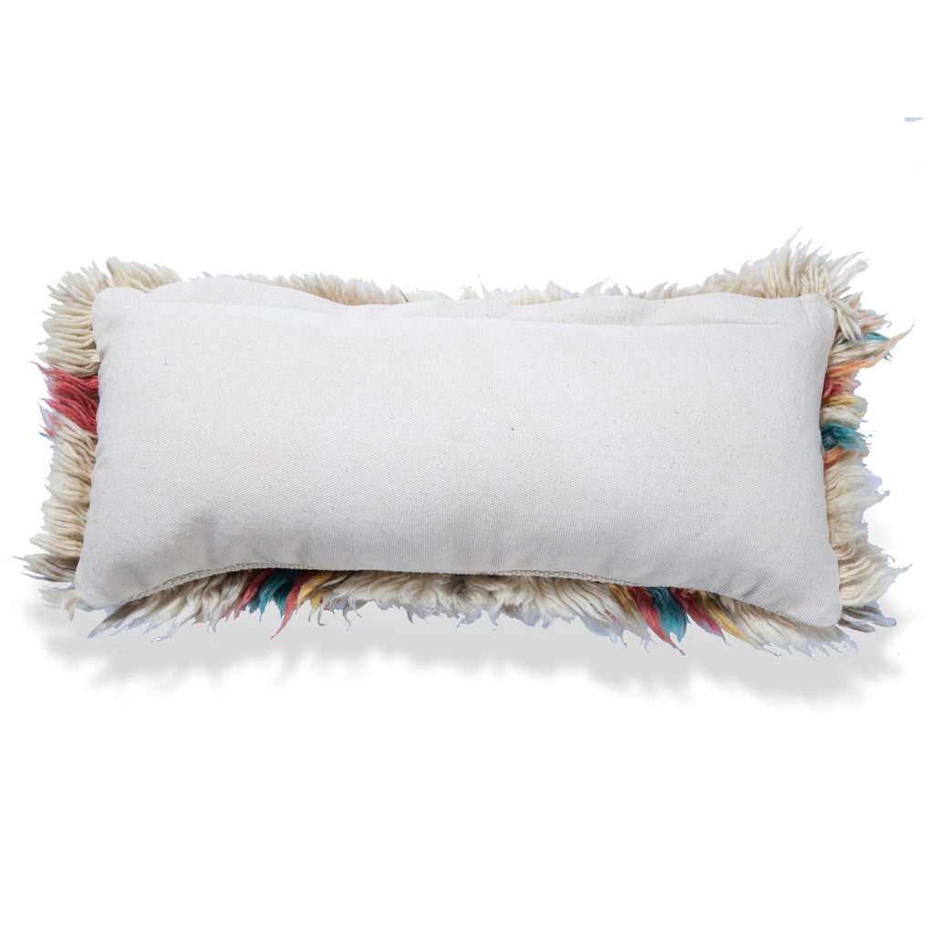 Bohemian Wool Cushion Moroccan Pillow Cover Hand Woven Soft Pillow Cover white shaggy pillow 10 X 22 Lumbar Living Room Decor housewarming