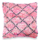 Pink shaggy Square pillow Bohemian 18 X 18 Wool Cushion Moroccan Pillow Cover Hand Woven Living Room Decor Christmas Decor housewarming gift