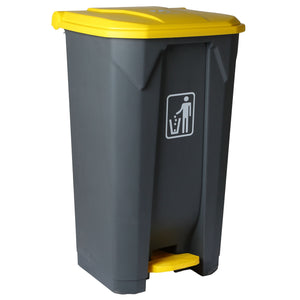 WASTE CONTAINER PLASTIC PEDAL 68L GREY & YELLOW ADVANCE