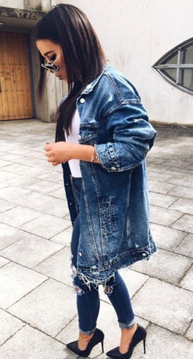 spring long denim jacket