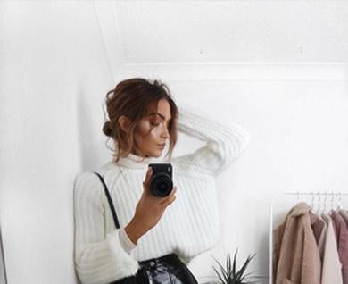white winter knit sweater