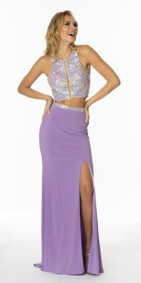 twopiece purple cute promdress