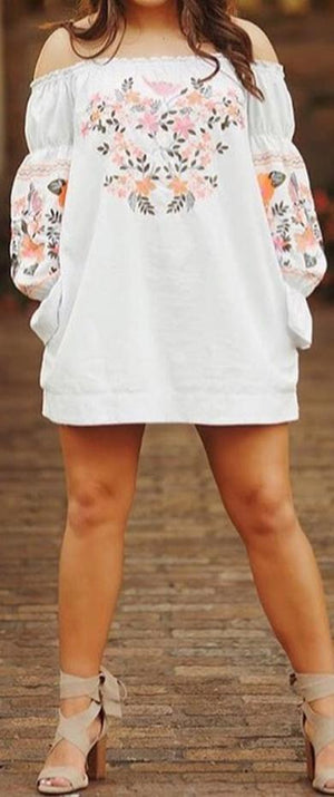 floral off the shoulder dress
