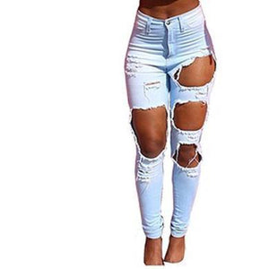 X Ripped Trousers Denim