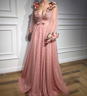 Long Sleeve Lace Evening Dresses