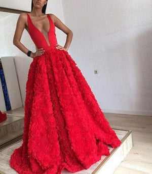 Princess Red v neck gown floral
