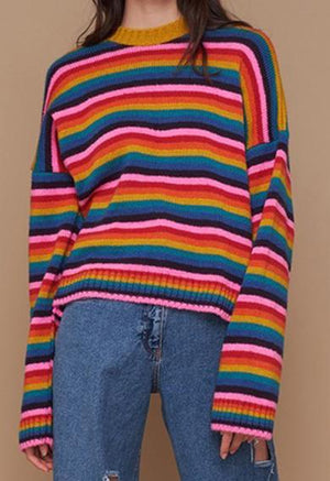 neon stripe sweater