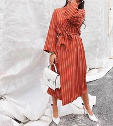 FELECIA bow tie striped dress