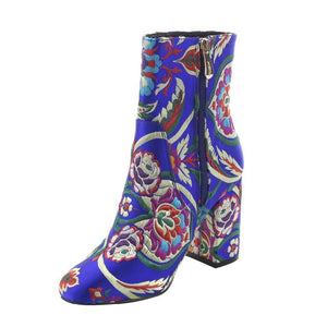 The colorful Floral Embroidery Ankle Booties.