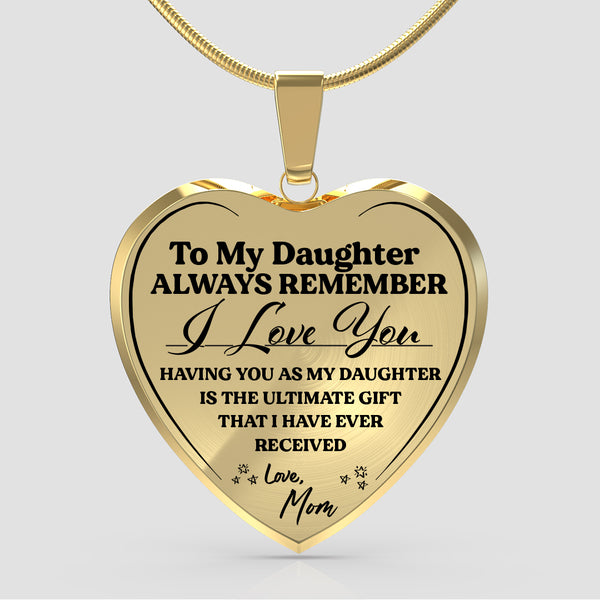 Always Remember (Love Mom) Heart Necklace