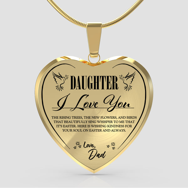 Daughter 'I Love You' (Love Dad) Heart Easter Necklace