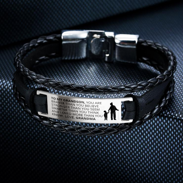 From Grandma to Grandson - Steel & Leather Bracelet
