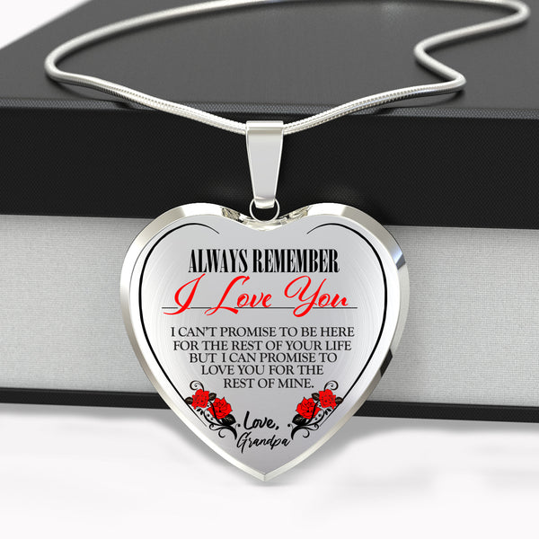 Always Be There (Love Grandpa) Heart Color Necklace