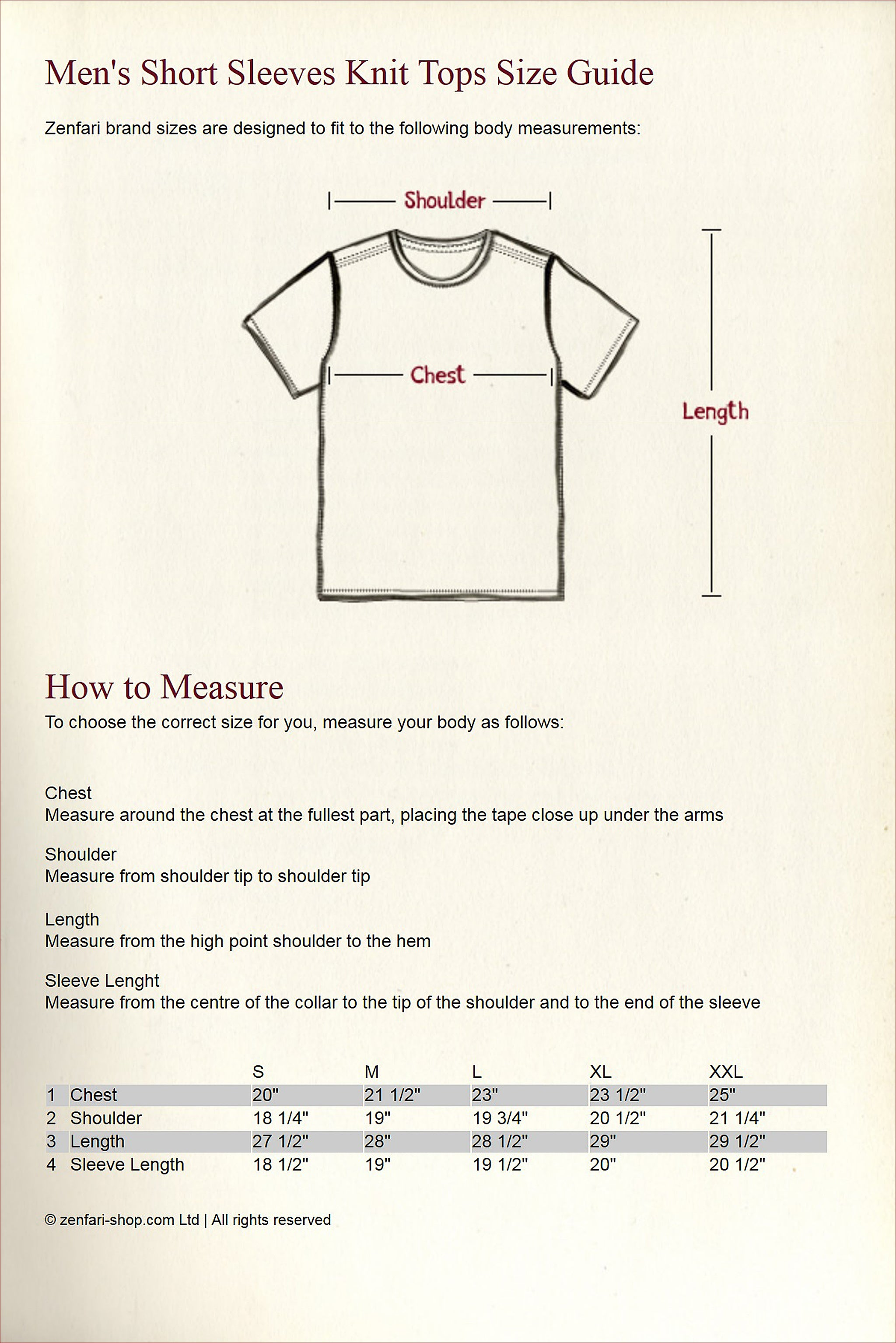 Knit Tops Size Guide - Short Sleeves