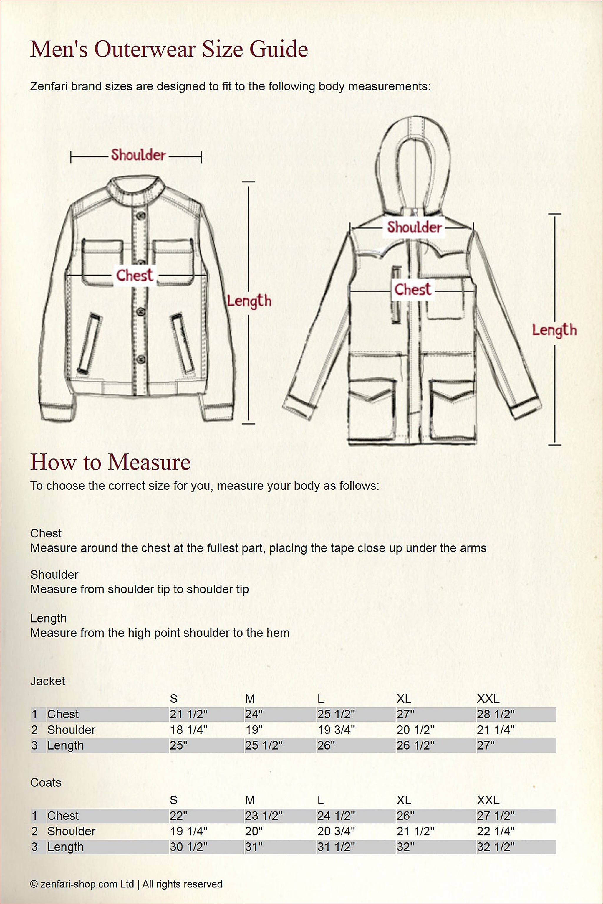 Outerwears Size Guide