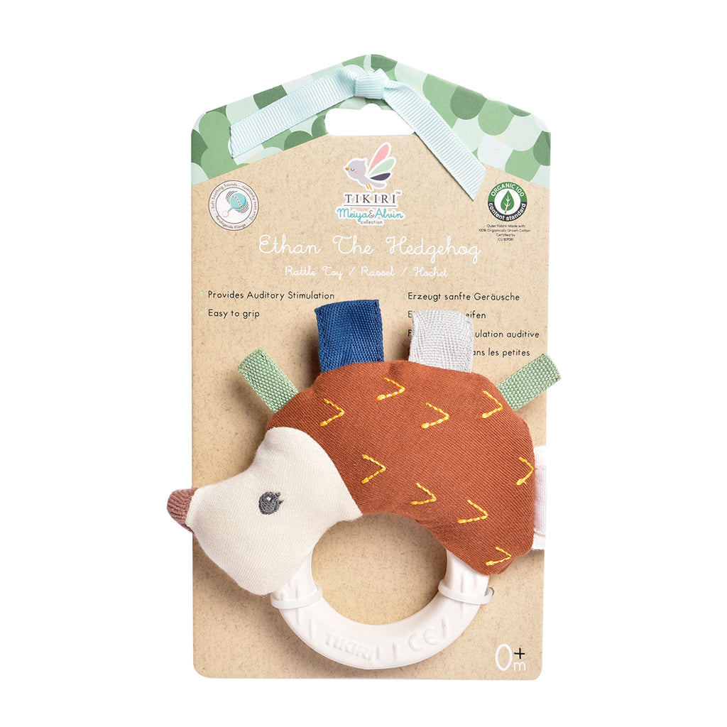 Ethan the Hedgehog Plush Rattle with  Natural Rubber Teether