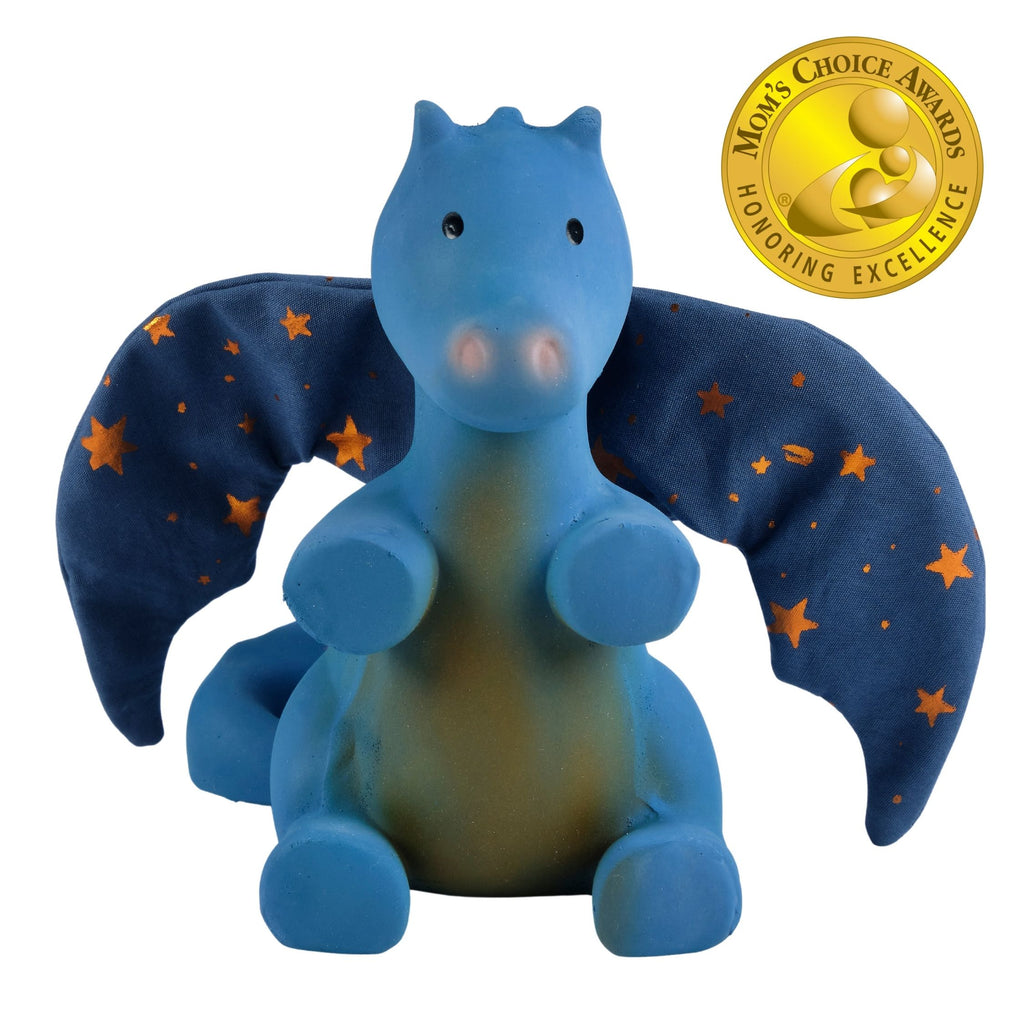 Midnight Dragon - Natural Rubber Rattle with Crinkle Wings