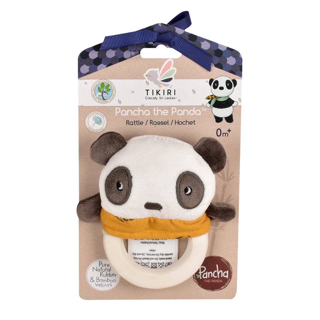 Pancha the Panda Rattle Toy with Natural Rubber Teether