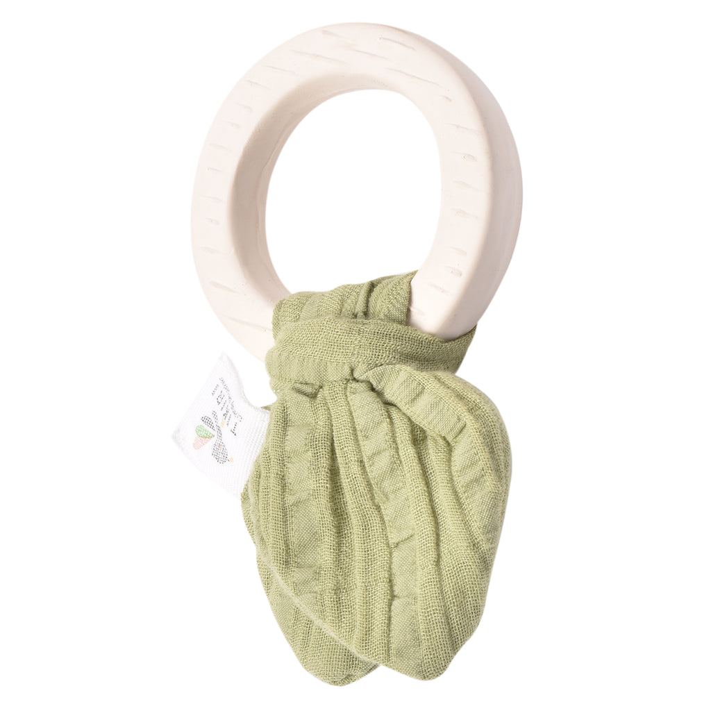 Rubber Teething ring- with Olive Green Muslin Tie