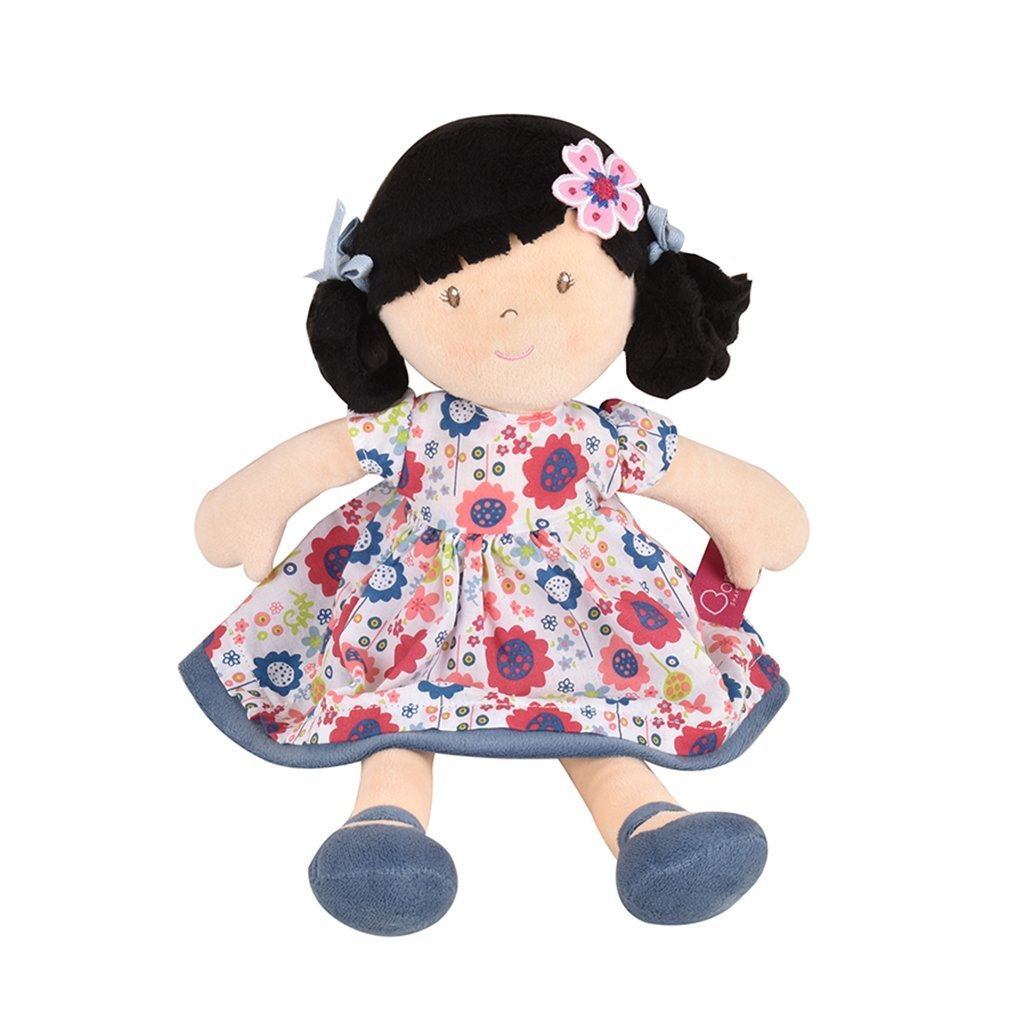 Lilac - Black Hair With Blue Floral Dress - Tikiri Toys