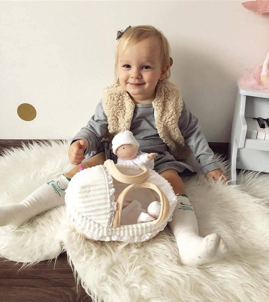 GRACE - BABY SOFT DOLL WITH CARRY COT AND BLANKET
