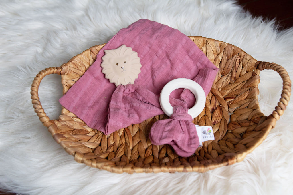 Rubber Teething ring - with Dusty Rose Muslin Tie