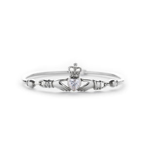 Load image into Gallery viewer, Claddagh Bangle with CZ