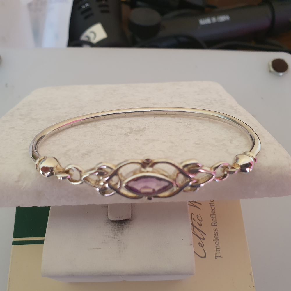 Sterling Silver Celtic Bangle with Amethyst