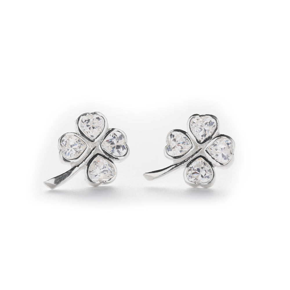 Four Leaf Clover Stud Earrings with CZ