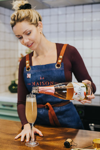 Peach Me I'm Dreaming non alcoholic cocktail, pouring Wild Life Botanicals Blush