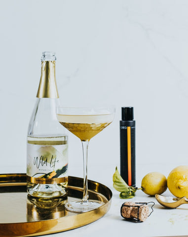 Lemon Spark non-alcoholic cocktail recipe including Wild Life Botanicals and OTO Bitters