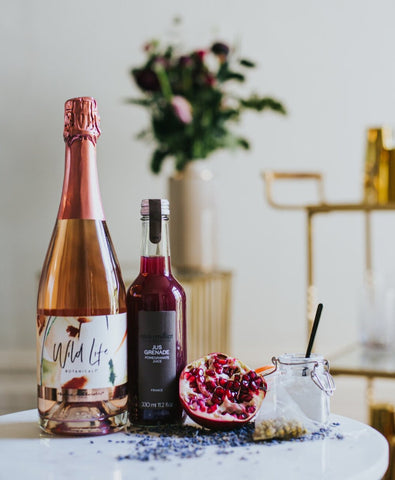 Chill Out Cocktail ingredients including Wild Life Botanicals Blush non-alcoholic sparkling wine