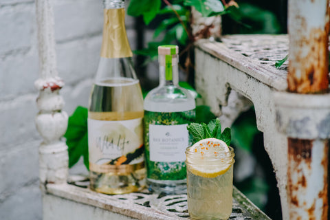 Garden Fizz non-alcoholic cocktail ingredients with Wild Life Botanicals sparkling wine