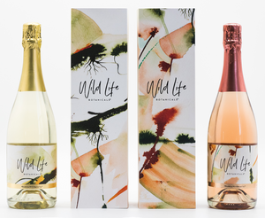 Wild Life Botanicals Nude and Blush low alcohol sparkling wine, with bespoke artwork by Cornish artist. Ultra-low alcohol, low calorie and low carb sparkling wine. Healthy wine alternative. Perfect gift for non-drinker, weddings and baby showers.