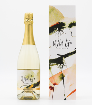 Wild Life Botanicals Nude 75cl bottle of low alcohol sparkling wine, gift boxed with bespoke artwork by Cornish artist. Ultra-low alcohol, low calorie and low carb sparkling wine. Healthy wine alternative.