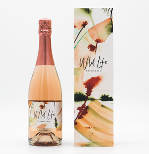 Wild Life Botanicals Blush 75cl bottle of low alcohol sparkling wine, gift boxed with bespoke artwork by Cornish artist. Ultra-low alcohol, low calorie and low carb sparkling rose wine. Healthy wine alternative.