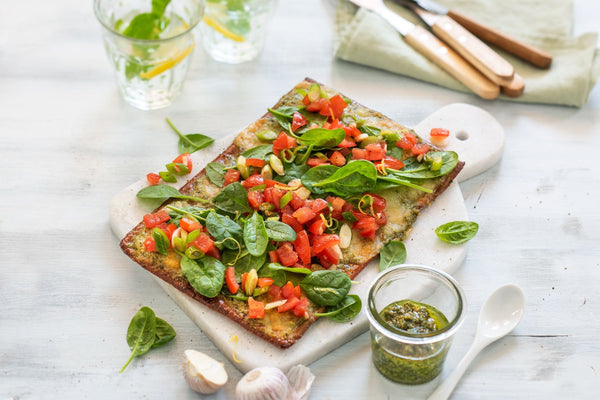 Lizza Bruschetta with Pesto