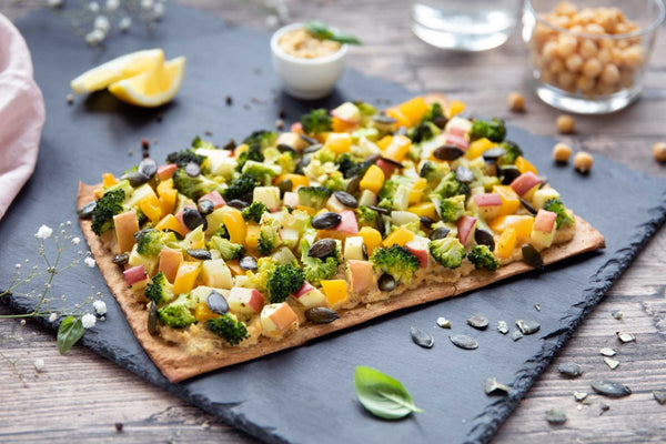 Eva's Lizza with Broccoli and Bell Pepper Salad