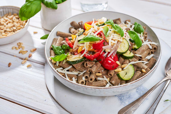 Pasta with Colourful Vegetables and Pine Nuts
